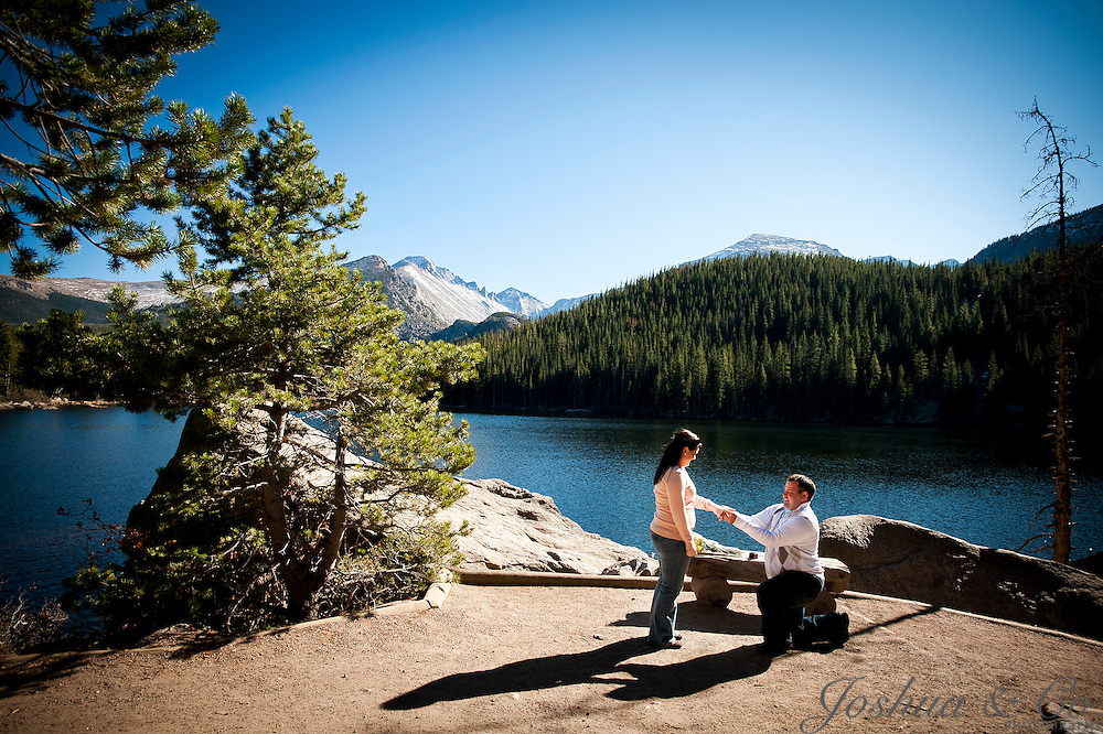Jason and Stormi are engaged to be married after a surprise proposal at Bear Lake in Rocky Mountain National Park near Estes Park, Colorado on Wednesday, Oct. 19, 2011. Joshua Buck  // Joshua & Co. Photography // www.joshuacophotography.com