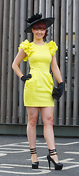 LIVERPOOL, ENGLAND - Friday, April 9, 2010: Katie Brown from Wigan attends Ladies' Day during the second day of the Grand National Festival at Aintree Racecourse. (Pic by David Rawcliffe/Propaganda)