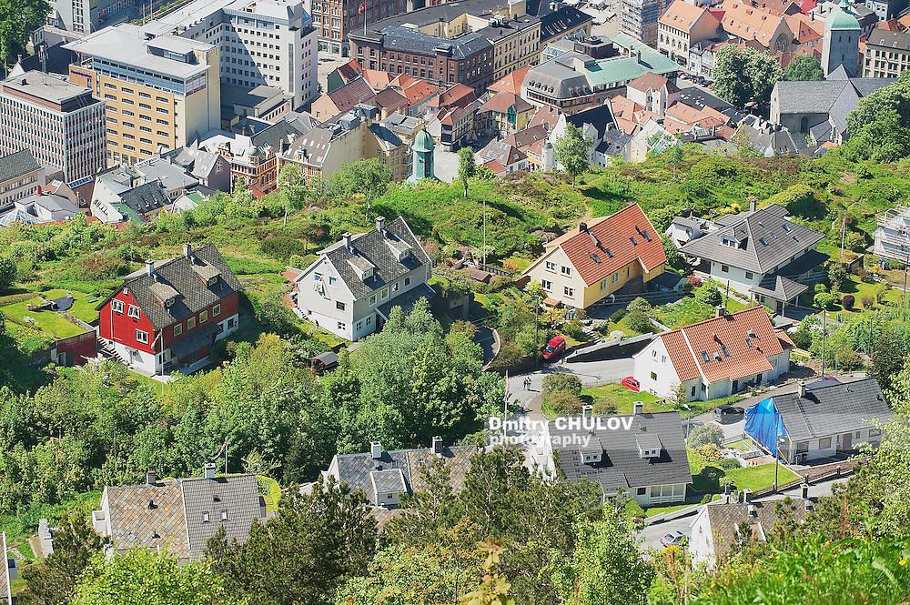 BERGEN, NORWAY - JUNE 06, 2010: View to the buildings of Bergen from Floyen hill in Bergen, Norway.