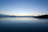 Chesterman Beach, near Tofino, BC Canada, approximately 3 kilometers of white sand and scattered rock outcroppings, is peaceful between winter storms.