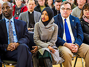 16 MARCH 2019 - BLOOMINGTON, MINNESOTA, USA: Congresswoman ILHAN OMAR (D-MN) listens to a speaker at Dar al Farooq Center in Bloomington. She is the first Somali-American elected to congress. An interdenominational crowd of about 1,000 people came to the center to protest white supremacy and religious intolerance and to support Muslims in New Zealand who were massacred by a white supremacist Friday. The Twin Cities has a large Muslim community following decades of Somali immigration to Minnesota. There are about 45,000 people of Somali descent in the Twin Cities.   PHOTO BY JACK KURTZ