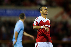 Swindon Forward Mohamed El-Gabbas (EGY) looks frustrated after missing a shot during the first half of the match - Photo mandatory by-line: Rogan Thomson/JMP - Tel: Mobile: 07966 386802 08/10/2013 - SPORT - FOOTBALL - County Ground, Swindon - Swindon Town v Plymouth Argyle - Johnstone Paint Trophy Round 2.