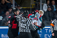 KELOWNA, CANADA - MARCH 14:  Austin Crossley #6 of the Prince George Cougars gets in the face of Ted Brennan #10 of the Kelowna Rockets during third period on March 14, 2018 at Prospera Place in Kelowna, British Columbia, Canada.  (Photo by Marissa Baecker/Shoot the Breeze)  *** Local Caption ***