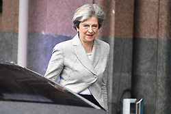 © Licensed to London News Pictures. 01/10/2017. Manchester, UK. British prime minister THERESA MAY seen leaving her hotel in Manchester ahead of an appearance on the Andrew Marr show, on the opening day of the Conservative Party Conference. There have been conflicts within the conservative party and government over the UK's approach to Brexit, which is expected to feature heavily at this years event. Photo credit: Ben Cawthra/LNP