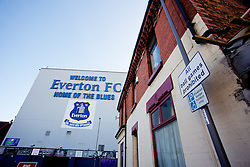 LIVERPOOL, ENGLAND - Sunday, February 16, 2014: A sign saying 'All ball games prohibited' outside Goodison Park before the FA Cup 5th Round match at Goodison Park between Everton and Swansea City. (Pic by David Rawcliffe/Propaganda)