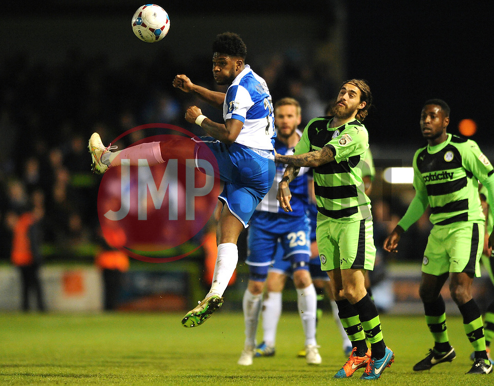 Bristol Rovers' Ellis Harrison heads the ball - Photo mandatory by-line: Dougie Allward/JMP - Mobile: 07966 386802 - 29/04/2015 - SPORT - Football - Nailsworth - The New Lawn - Forest Green Rovers v Bristol Rovers - Vanarama Football Conference