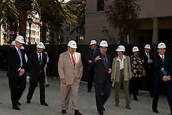 October 22, 2009; Stanford, CA; Dean Larry Kramer and  Bill Neukom break ground on Stanford Law School's new faculty academic building at a ceremony launching the 2009 Alumni Weekend festivities.