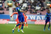 Wigan Athletic midfielder Michael Jacobs control the ball during the EFL Sky Bet Championship match between Wigan Athletic and Huddersfield Town at the DW Stadium, Wigan, England on 14 December 2019.
