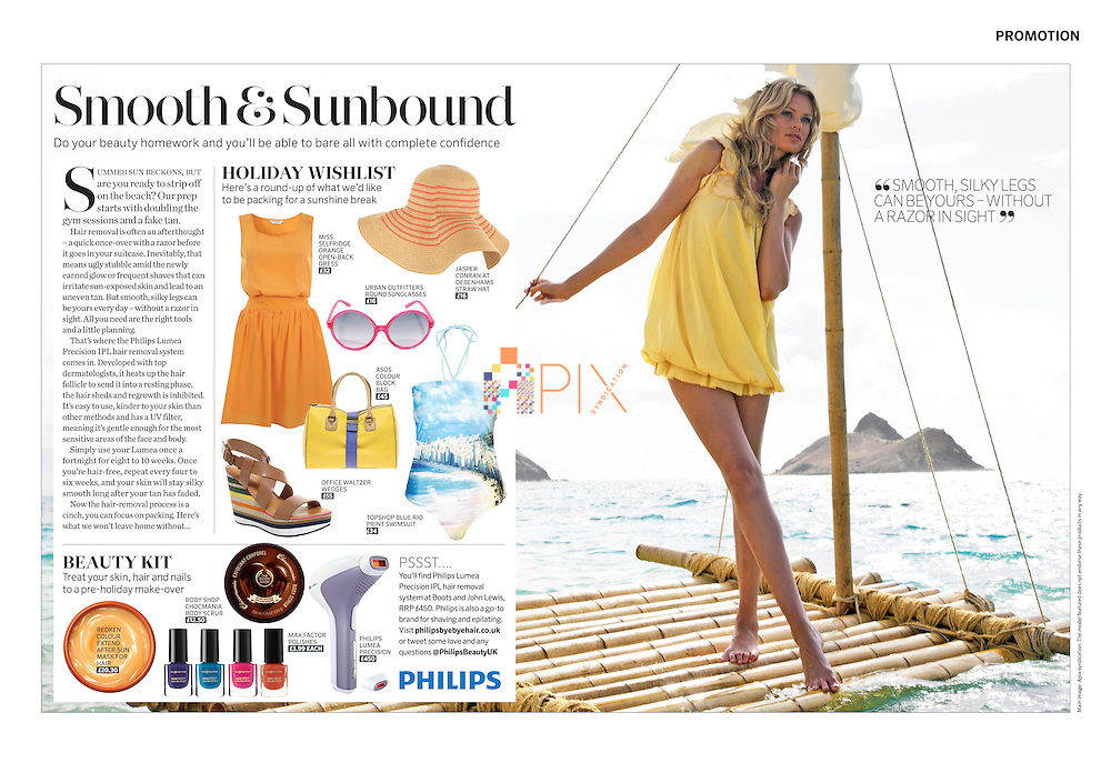 Gorgeous advertorial on beach style and summer beauty tips in the August issue of MARIE CLAIRE magazine, UK.<br />