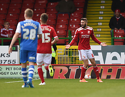 Swindon Town's Jordan Turnbull appeals the linesmans call - Photo mandatory by-line: Paul Knight/JMP - Mobile: 07966 386802 - 11/04/2015 - SPORT - Football - Swindon - The County Ground - Swindon Town v Peterborough United - Sky Bet League One