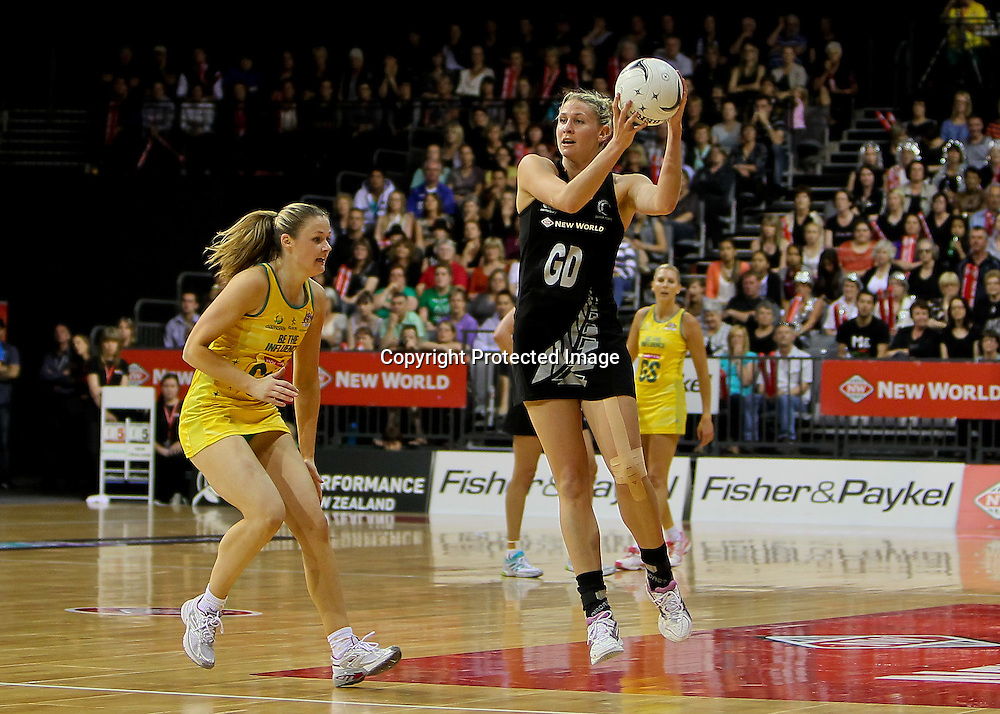 New Zealand captain Casey Williams in action during the New Zealand captain Casey Williams in action during the New World Quad Series - Silver Ferns v Australian Diamonds, 1 November 2012.  Photo:  Bruce Lim / www.photosport.co.nz