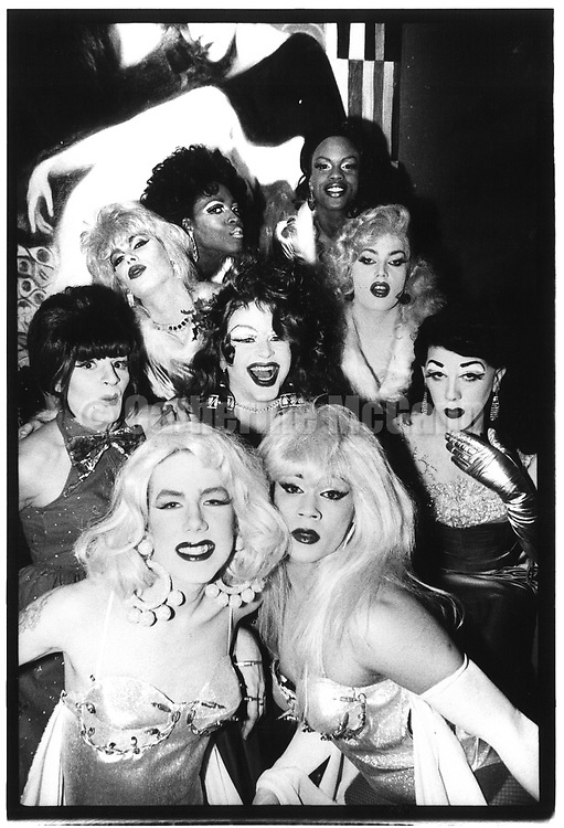 December 20, 1987:  A group portrait of the drag queens of Boy Bar, shot at the Tunnel night club on December 20, 1987 in New York City.
