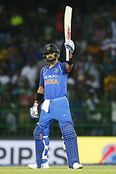 September 3, 2017 - Colombo, Sri Lanka - Indian cricket captain Virat Kohli celebrates after scoring 100 runs during the 5th and final One Day International cricket match between Sri Lanka and India at the R Premadasa international cricket stadium at Colombo, Sri Lanka on Sunday 3 September 2017. (Credit Image: © Tharaka Basnayaka/NurPhoto via ZUMA Press)