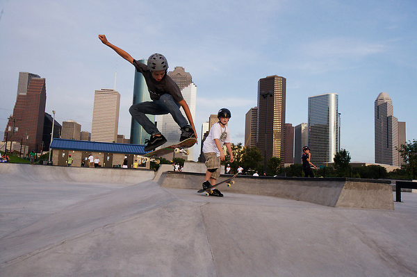 boy doing aerial tricks at the Lee & Jo Jamail skatepark on the outskirts of downtown Houston