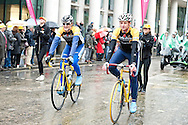 The Lord Mayor's Show, London, UK (9 November 2013). Cyclists promoting the Tour de France Grand Depart, which will be in Yorkshire in 2014.