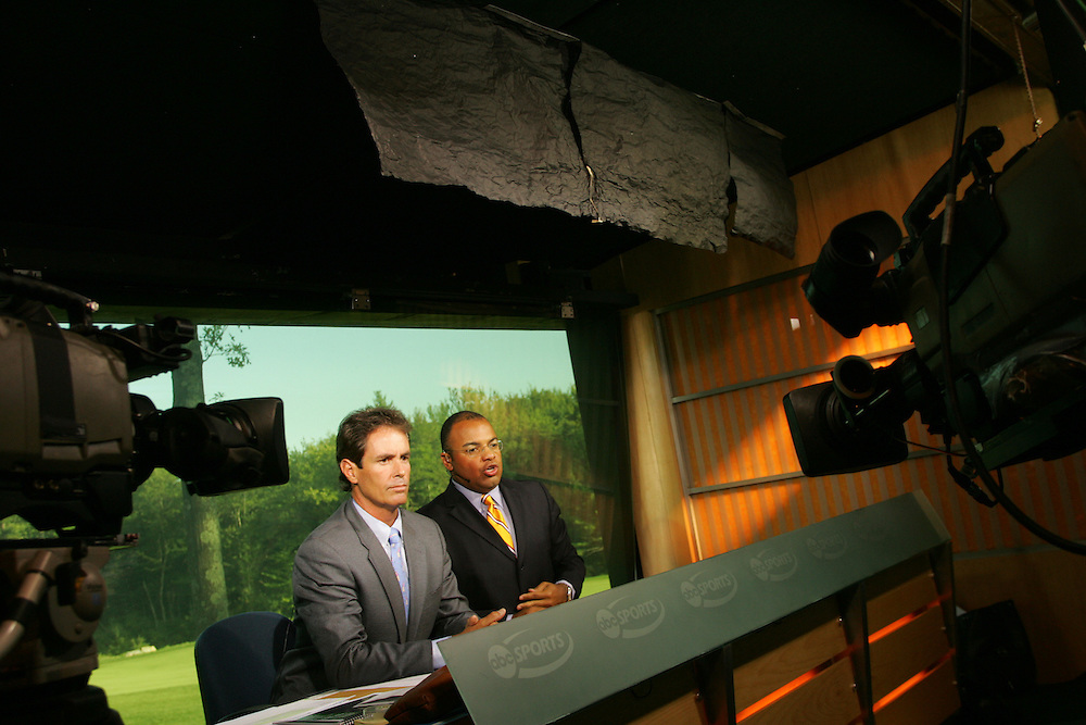 Ian Baker-Finch (l).Mike Tirico..2004 Deutsche Bank Championship.TPC of Boston.Norton, MA.Third Round.Sunday, September 5  2004..photograph by Darren Carroll