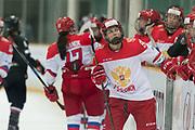 Russia forward Shatalova Tatiyana looks at the score in the second period during the Nagano Olympics Paralympics 20th Anniversary Games at Nagano on Monday, December 25, 2017. 25/12/2017-Nagano, JAPAN.