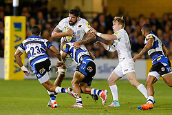 Saracens replacement Jim Hamilton is challenged by Bath Outside Centre Jonathan Joseph - Photo mandatory by-line: Rogan Thomson/JMP - 07966 386802 - 03/10/2014 - SPORT - RUGBY UNION - Bath, England - The Recreation Ground - Bath Rugby v Saracens - Aviva Premiership.