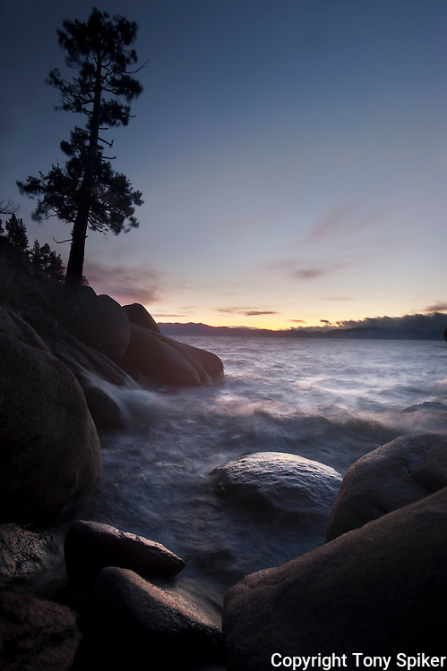 """""""East Shore Sunset 3"""" - The sun sets over Lake Tahoe while waves roll in near Secret Harbor"""