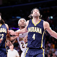 04 January 2014: Indiana Pacers forward Luis Scola (4) vies for the rebound with Los Angeles Lakers center Jordan Hill (27) next to Indiana Pacers forward Chris Copeland (22) during the Los Angeles Lakers 88-87 victory over the Indiana Pacers, at the Staples Center, Los Angeles, California, USA.