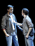 "WSU junior Eric Byrd (left) and sophomore Zach Boone play the parts of Tony and Riff in ""West Side Story"" at the 2008 Arts Gala at Wright State University, Saturday, April 5, 2008."