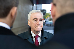 © Licensed to London News Pictures. 03/11/2019. London, UK. Shadow Chancellor of the Exchequer John McDonnell departs the BBC after appearing on the Andrew Marr Show. Photo credit: George Cracknell Wright/LNP