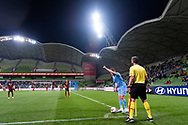 MELBOURNE, AUSTRALIA - SEPTEMBER 18: Scott Jamieson (3) of Melbourne City gestures prior to taking a corner during the FFA Cup Quarter Finals match between Melbourne City FC and Western Sydney Wanderers FC at AAMI Park on September 18, 2019 in Melbourne, Australia. (Photo by Speed Media/Icon Sportswire)