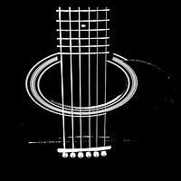 Abstract guitar strings black and white contemporary photo. Music Themed Photo Art