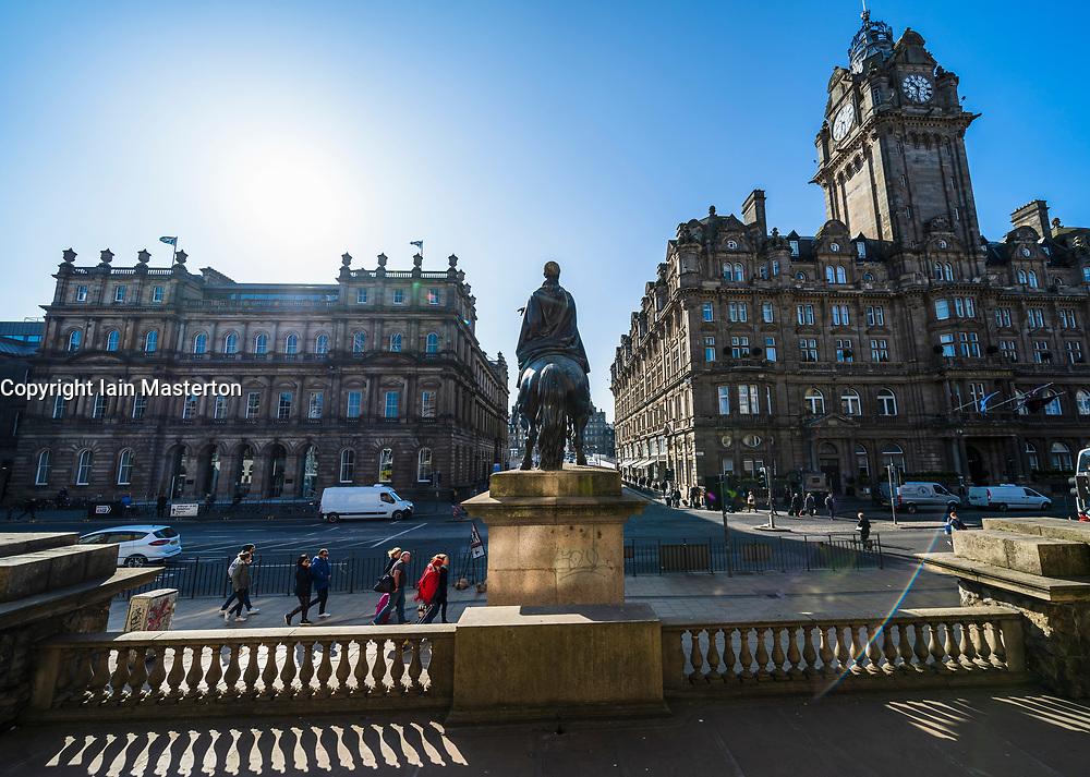 General view of Princes Street and Balmoral Hotel in Edinburgh, Scotland UK