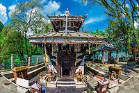 Tal Barahi Temple, on a small island in Phewa Lake, Pokhara, Nepal.