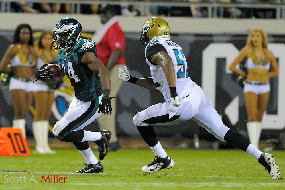 Philadelphia Eagles running back Bryce Brown (34) during a preseason NFL game against the Jacksonville Jaguars at EverBank Field on Aug. 24, 2013 in Jacksonville, Florida. The Eagles won 31-24.<br /> <br /> &copy;2013 Scott A. Miller