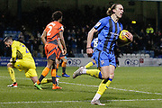 GOAL 1-2 Gillingham striker Tom Eaves (9) scores and celebrates, runs with the ball, during the EFL Sky Bet League 1 match between Gillingham and Wycombe Wanderers at the MEMS Priestfield Stadium, Gillingham, England on 15 December 2018.