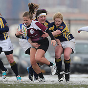 Caroline Nickels, Molloy College makes a run during the Clarion vs Molloy Women's College Division game at the Four Leaf 15s Rugby Tournament which attracted over 60 clubs teams from New York and Interstate. Randall's Island Park, New York,  USA. 21st March 2015. Photo Tim Clayton
