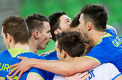 Players of Slovenia celebrate during qualifications match of FIVB Men's Volleyball World Championship 2014 between National teams of Slovenia and Israel in pool B on May 25, 2013 in Arena Stozice, Ljubljana, Slovenia. Slovenia defeated Hungary 3-0. (Photo By Vid Ponikvar / Sportida)