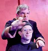 The Frogs by Aristophanes <br /> adapted by Burt Shevelove and Nathan Lane at Jermyn Street Theatre, London, Great Britain <br /> 15th March 2017 <br /> Music by Stephen Sondheim <br /> directed by Grace Wessels <br /> <br /> Michael Matus as Dionysos <br /> George Rae as Xanthias <br /> <br /> Photograph by Elliott Franks <br /> Image licensed to Elliott Franks Photography Services
