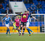 Dundee&rsquo;s Marcus Haber battles with St Johnstone&rsquo;s Thomas Scobbie - St Johnstone v Dundee in the Ladbrokes Scottish Premiership at McDiarmid Park, Perth: Picture &copy; David Young<br /> <br />  - &copy; David Young - www.davidyoungphoto.co.uk - email: davidyoungphoto@gmail.com
