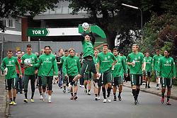 16.08.2011, Trainingsgelaende, Bremen, GER, 1.FBL, Training Werder Bremen, im Bild Marko Arnautovic (Bremen #7) und Mannschaft auf dem Weg zum Trainingsplatz // during training session from Werder Bremen on 2011/08/16, Trainingsgelaende Werder Bremen, Bremen, Germany. EXPA Pictures © 2011, PhotoCredit: EXPA/ nph/  Gumz       ****** out of GER / CRO  / BEL ******