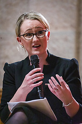 © Licensed to London News Pictures. 13/02/2020. London, UK. Rebecca Long-Bailey speaking at the Jewish Labour Movement (JLM) Labour Party leadership hustings held at the Liberal Jewish Synagogue in St John's Wood. The JLM will announce its leadership nomination on Friday February 14th. Photo credit: Vickie Flores/LNP