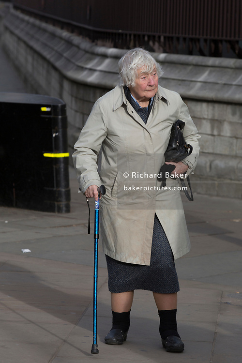 The veteran Liberal Democrat politician, Baroness Williams of Crosby, Shirley Williams, walks with the aide of a walking stick towards the House of Lords, on 14th January 2019, in Westminster, London, England.