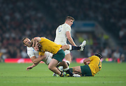 Twickenham, Great Britain, Sam BURGESS, with a high tackle on Michael HOOPER, Matt GITEAU grounded and Owen FARRELL.   Pool A game, England vs Australia.  2015 Rugby World Cup, Venue, RFU Stadium, Twickenham, Surrey, ENGLAND.  Saturday  03/10/2015<br /> Mandatory Credit; Peter Spurrier/Intersport-images]
