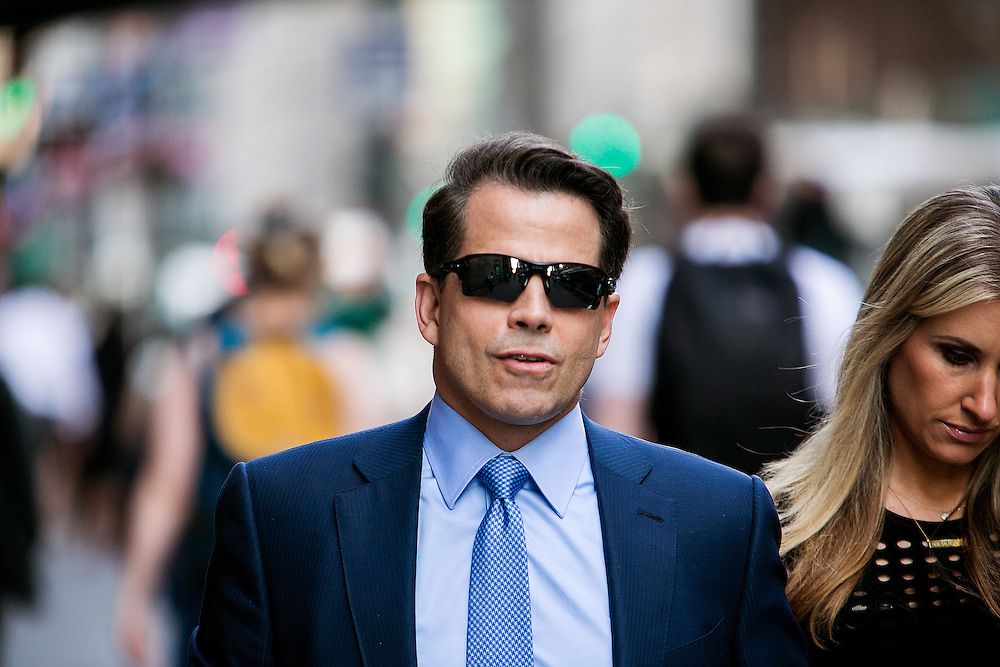 NEW YORK, NY - JUNE 22, 2016: Hedge fund executive Anthony Scaramucci and his wife Deidre Ball head into a fundraiser for Republican presidential candidate Donald J. Trump at Cipriani restaurant on 42nd Street in New York, New York. CREDIT: Sam Hodgson for The New York Times.