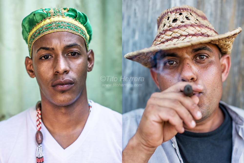 "left: A Cuban ""Babalao"" that means ""father of the mysteries"" in the Yoruba language use in Santeria.<br />