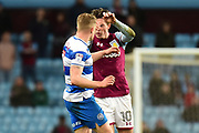 Aston Villa midfielder Jack Grealish (10) pushes QPR defender Jake Bidwell (3) during the EFL Sky Bet Championship match between Aston Villa and Queens Park Rangers at Villa Park, Birmingham, England on 13 March 2018. Picture by Dennis Goodwin.