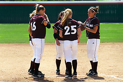 28 April 2007: The Saluki infielders gather around starting pitcher Cassidy Scoggins. The Southern Illinois Salukis played the Illinois State Redbirds on the campus of Illinois State University in Normal Illinois.