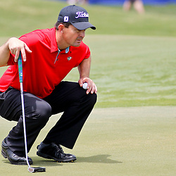 Apr 27, 2012; Avondale, LA, USA; Greg Chalmers on the 18th hole during the second round of the Zurich Classic of New Orleans at TPC Louisiana. Mandatory Credit: Derick E. Hingle-US PRESSWIRE