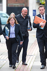 © Licensed to London News Pictures. 03/11/2016. Leeds UK. Picture shows former soldier Simon Buckden arriving at Leeds Crown Court today. The former military clerk is accused of six counts of fraud, it is alleged he lied about serving in war torn countries & having cancer to get sympathy & benefits. Buckden is accused of telling people he carried out tours of duty in Bosnia, Northern Ireland, Rwanda, both Gulf Wars. He is also accused of telling people he served in the SAS and attended events wearing medals & a beret. Buckden took part in the Olympic torch relay in the run up to the 2012 London Olympics & began a fundraising challenge to run 100 marathons in 100 weeks. Photo credit: Andrew McCaren/LNP