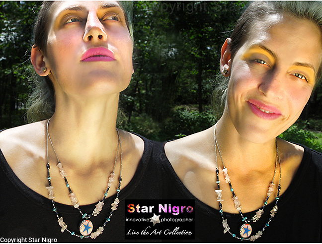 Cloud Star necklace created exclusively by Star Nigro <br /> <br /> A one of a kind designed &amp; handmade photo jewel created in the Hudson Valley, NY. <br /> <br /> About/Materials: This set is made up of 2 of  my photos of Boston's graffiti &amp;  clouds sealed with swarovski accents.<br /> <br /> Necklace has sterling silver beads, turquoise, rose quartz &amp; hematite.<br /> <br /> +2 in 1 piece can be worn both ways<br />  w/ sterling clasp &amp; star accent<br /> <br /> size: 11&quot; length x 4.5&quot; wide<br /> <br /> price: $86.00