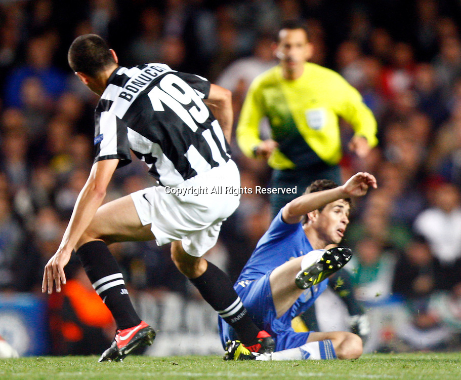 19.09.12 London, ENGLAND: <br /> Leonardo Bonucci of Juventus F.C.stamps Oscar of Chelsea<br /> during the UEFA Champions League Group E match between Chelsea and  Juventus at Stamford Bridge Stadium