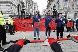 © Licensed to London News Pictures. 11/03/2020. London, UK. Protestors block the gates of Downing Street on Budget day. Chancellor of the Exchequer Rishi Sunak will deliver his frist Budget to Parliament today. Photo credit: Peter Macdiarmid/LNP