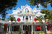 Key West style home decorated for Halloween in Key West, Florida